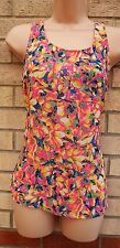 EVITA PINK FLORAL MULTI COLOR ZIP BACK CHIFFON TUNIC CAMI TOP VEST BLOUSE 8 S