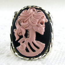 Pink Lolita Skeleton Lady Cameo Ring .925 Sterling Silver Jewelry Resin Any Size