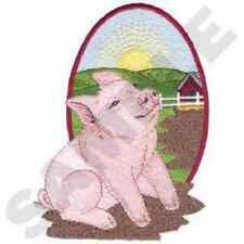 PIG IN THE SUN ON THE FARM SET OF 2 BATH HAND TOWELS EMBROIDERED BY LAURA