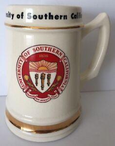 Vintage USC University of Southern California Los Angeles Beer Stein Mug, Gold