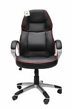 Black and Red Leather Office Chair Racing Gaming Tilt Swivel Adjustable Armchair