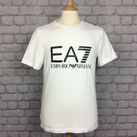 EA7 EMPORIO ARMANI MENS UK M WHITE VISIBILITY LOGO T-SHIRT TSHIRT TEE DESIGNER