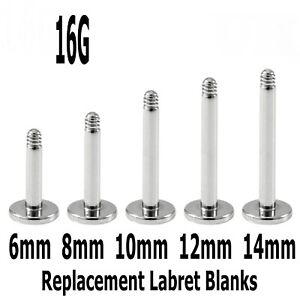 Labret Monroe 5 Spare Surgical Steel Earring Lip Rook Snug Piercing Blanks 16g