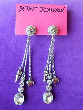 Betsey Johnson Authentic NWT Pretty Pearl Punk Pave Crystal  Drop Earrings