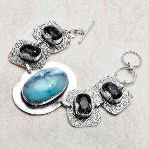 Dendrite Opal White Topaz Ethnic Handmade Bracelet Jewelry 29 Gms AB 31224