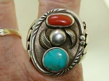 VINTAGE NATIVE AMERICAN STERLING SILVER SHADOW BOX TURQUOISE & CORAL RING SIGNED