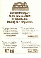 VINTAGE 1970s DUAL 1229 TURNTABLE ADVERTISING BROCHURE! 4 HI-FI MAGAZINE REVIEWS