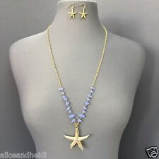 Gold Chain Blue Sea Life Inspired Star Fish Pendant Necklace With Earrings