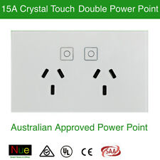 AU Approved 15A Crystal Touch LED Light Switch Double Power Point Wall Socket