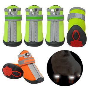 4pcs Reflective Dog Boots Waterproof Shoes Warm Padded Snow Walk Paw Protection