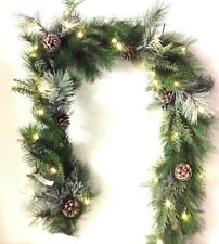 Pine Greenery Garland. Snow, Iced, Clear Lights, Battery. 6 ft. L. Artificial