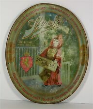 1890s STROH BREWING CO TIN LITHOGRAPH ADVERTISING SERVING TRAY KID w/ BEER CRATE