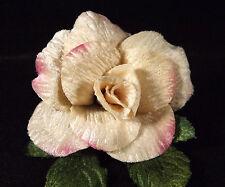 Velvet Rose Cream Pink Edge Millinery Bridal Flower Crown Corsage Wedding 3 inch