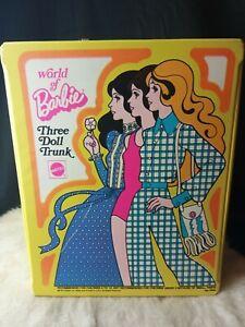 Vintage Barbie Three Doll Trunk Yellow 1974 Mattel World Of Barbie Storage Case