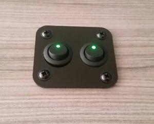 Camper Van Gloss Black Control Panel Green Double Switch  65mm x 57mm