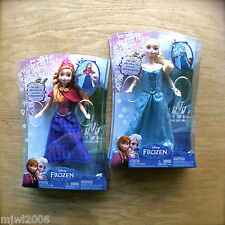 "Disney FROZEN Musical Magic ELSA & ANNA Plays 'Let it Go' 12"" doll by Mattel lot"