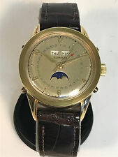 GUBELIN TRIPLE DATE MOON PHASE 18K SOLID GOLD AUTOMATIC VINTAGE WATCH - RARE