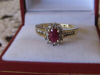 VINTAGE VIBRANT  RUBY SOLITAIRE DIAMOND HALO RING IN 10K YG SZ-7
