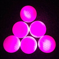 Glow In Dark LED Light Up Golf Ball Official Size Tournament Balls, Rose Red