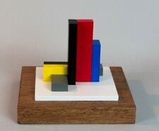 SCULPTURE EN BOIS POLYCHROME ABSTRACTION NEOPLASTICISME SIGNEE NUMEROTEE  (8)
