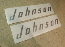 Johnson Vintage Outboard Motor Decals Silver 2-PAK FREE SHIP + FREE Fish Decal