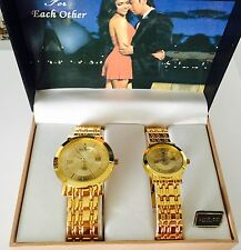 Charles Raymond His And Her Wrist Watch Set Yellow Tone New Batteries Running!