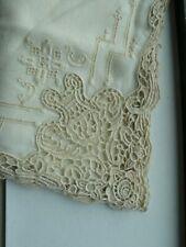 Set 8 ~ Vintage Hand Embroidery Lace Linen Napkins Serviettes ~ 17 inch square