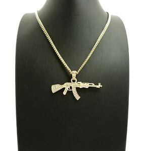 """New AK47 Machine Gun Pendant & 24"""" Various Chains Hip Hop Necklace - XSP627"""