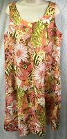 J. Jill Love 100% Linen Tropical Print Shift Dress Size L Tall Green Pink Pocket