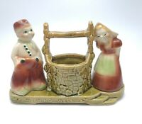 Shawnee Pottery Wishing Well Planter With Dutch Boy And Girl Red