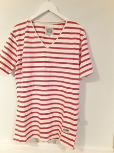 * DUFFER ATHLETIC* RED IVORY STRIPE TOP SIZE M BRAND NEW