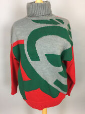 Vintage Mohair Red/Green/Grey Polo Neck Jumper. Made In Italy. M