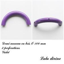 Demi anneau en bois de 100 mm avec trou, pour hochet bébé : Violet