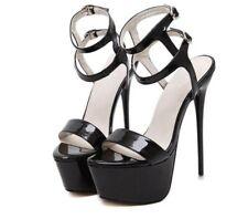 Occident Women Platform Very High Heel Buckle Peep Toe Slingbacks Sandals Shoes