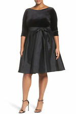 NEW Adrianna Papell Black Velvet & Taffeta Fit & Flare Dress PLUS SIZE 14W