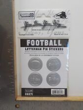 STAMPING STATION FOOTBALL SILVER LETTERMAN PIN DIMENSIONAL STICKERS A11674