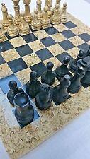 """Chess Set 12"""" Jet Black/Coral Fossil Cream Handmade Onyx/Marble Blue Velvet Box"""