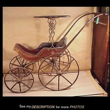 Antique 19th Century Victorian DOLL CARRIAGE Buggy Stenciled Wood Wheels Canopy