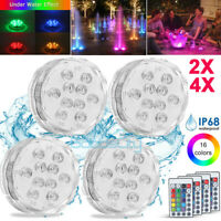 2/4X Submersible LED Lights RGB Multi Color Changing Waterproof Lamp & Remote