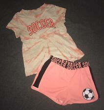Justice Active 2 Piece Orange Tie-dye Glitter Soccer T-Shirt & Shorts Size 14/16