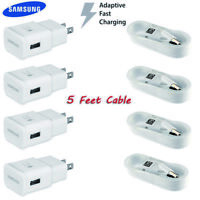 OEM Samsung Galaxy S6 S7 Note 4 5 Fast Charging Wall Charger&Dual USB Car+Cable