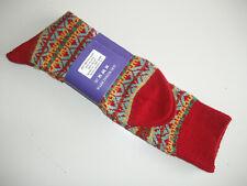 🇬🇧 Thick Mens MERINO WOOL Long Fairisle Socks 6-11 UK Maroon Red/Green/Yellow