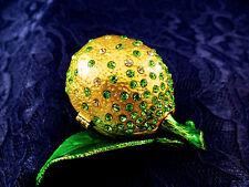 Enamel cloisonne jewelry box lemon w/ Swarovsky hand made