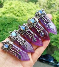 5pcs Amethyst Stone Sword Pendants Prism Chakra Reiki Healing Amulet Wholesale