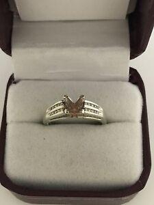 10k White Gold Princess Cut Diamond Semi-Mount Engagement Ring 7.25