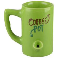 Coffee Pot Coffee Pipe Mug // Novelty Coffee Mug / Green Ceramic Pipe Coffee Mug