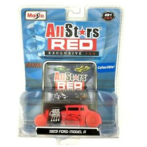 Maisto All Stars Red Exclusive 100 1929 '29 Ford Model A Car Red Die Cast 1/64