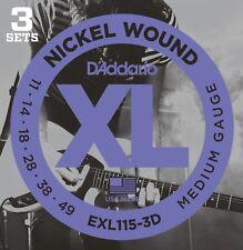 6 Sets D'Addario Exl115-3D Electric Guitar Strings 11-49 Medium Nickel Wound