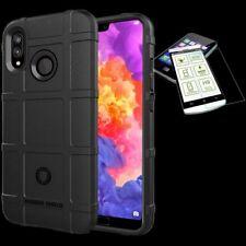 Para Huawei P20 Lite Bolsa Escudo TPU Funda de Silicona Negro + 0,26 H9