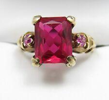 Antique Vintage 10k Gold Ruby & Pink Topaz Ladies Estate Ring Sz 6.25